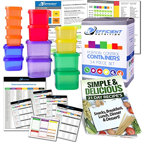 Portion Control Containers DELUXE Kit (14-Piece) with COMPLETE GUIDE