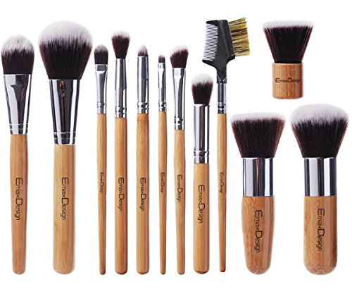 EmaxDesign 12 Pieces Makeup Brush Set Professional Bamboo Handle