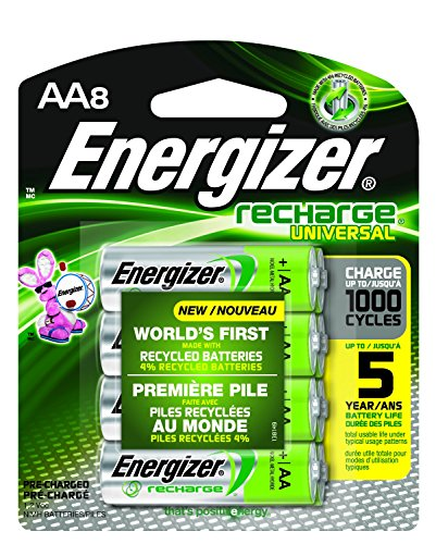 Energizer Recharge Universal 2000 mAh Rechargeable AA Batteries, Pre-Charged