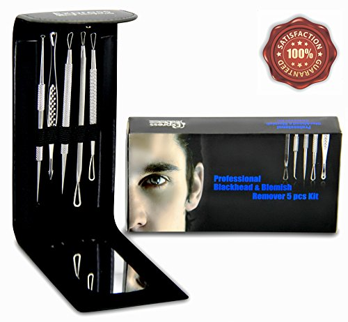 Professional Blackhead and Blemish Remover Kit. 5pcs Blackheads Extractor