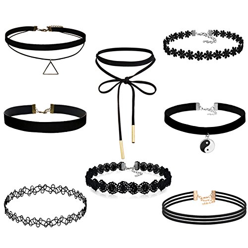 FIBO STEEL 8PCS Womens Black Velvet Choker Necklace for