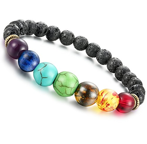 FIBO STEEL 8MM Beads Bracelet for Men Women Lava