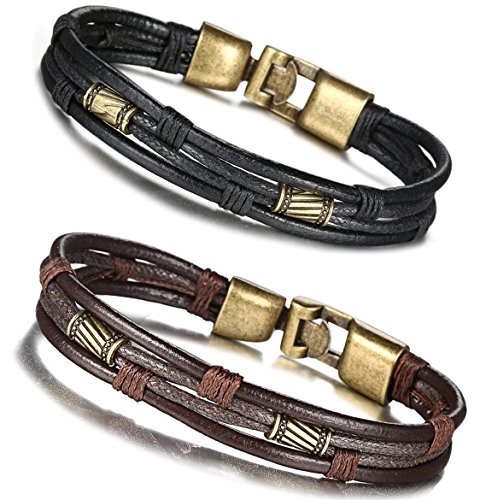 FIBO STEEL Leather Bracelet for Men Braided Wrist Cuff