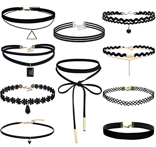 FIBO STEEL 10 Pack Lace Choker Necklace for Women