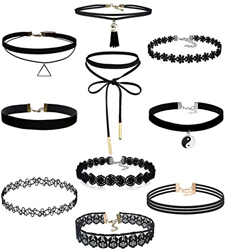 FIBO STEEL 10PCS Womens Black Velvet Choker Necklace for