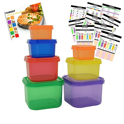 FIXBODY 7 Piece Portion Control Containers Kit (COMPLETE GUIDE