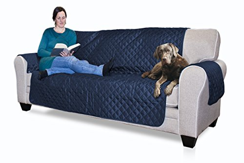 Furhaven Reversible Pinsonic Poly Sofa Protector - Navy/Lt Blue