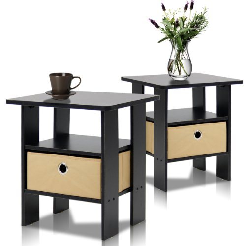 Furinno 2-11157EX End Table Bedroom Night Stand, Petite, Espresso
