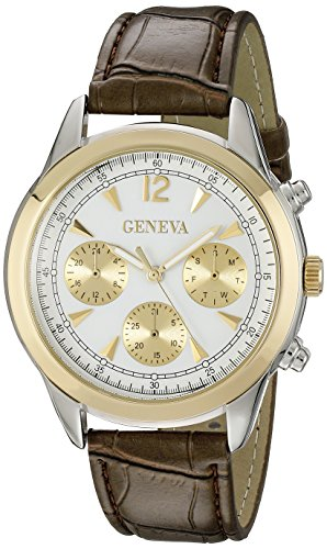$18.00 Geneva Men's FMDJM534 Two-Tone Stainless Steel Watch with Brown