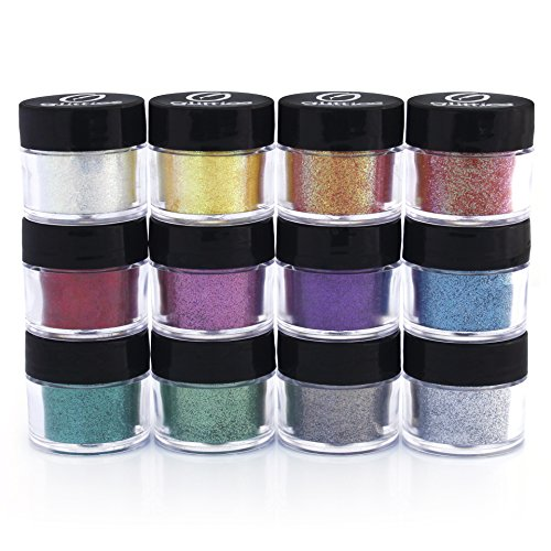 Professional Cosmetic Grade Glitter Powder Kit (12 Pk) -