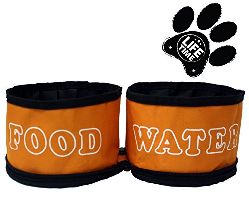 $19.99 Dual Travel Dog Bowls by GoPets Collapsible Folding Pet