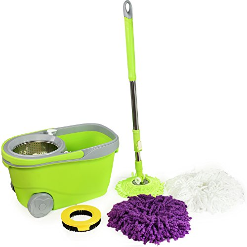 Spin Mop and Bucket Deluxe Cleaning System with Microfiber