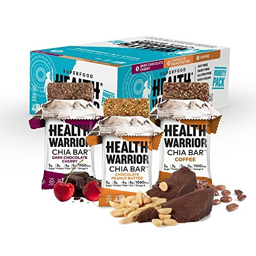 Health Warrior Chia Bars, Chocolate Peanut Butter/Dark Chocolate Cherry/Coffee