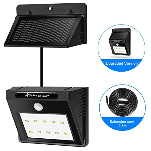 Hiluckey Solar LED Wall Lights Waterproof Motion Sensor Security