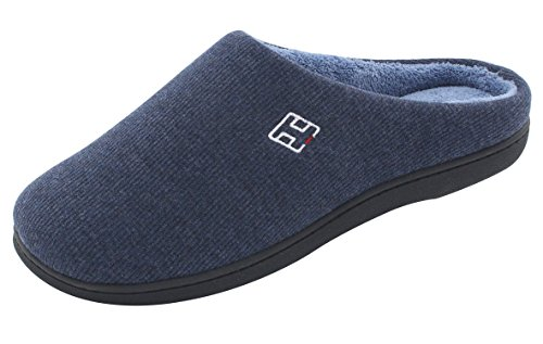 HomeIdeas Men's Cotton Memory Foam Anti-Slip Slip On House