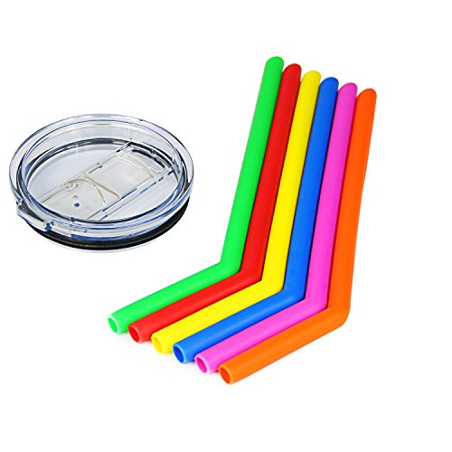 Housavvy Silicone Drinking Straws 6 Pack with 30 Oz