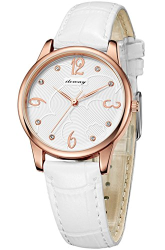 ILEWAY Women's Fashion Leather Band Waterproof Analog Quartz Wrist