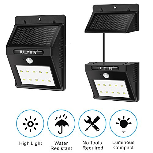 ILLUNITE Solar Light 10 Ultra Bright LEDs Motion Sensor