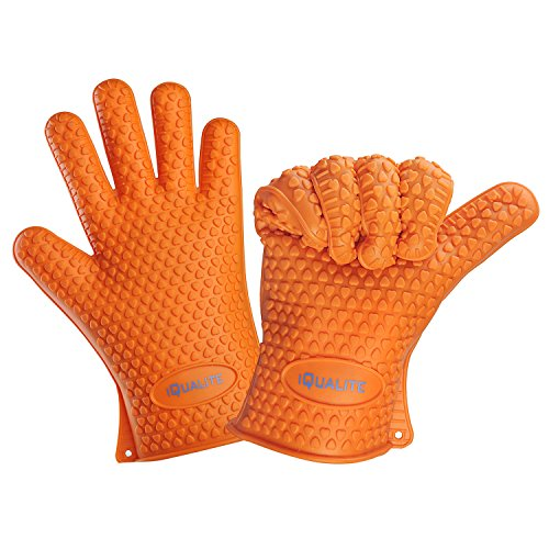 iQualite Heat Resistant Silicone BBQ Grill Oven Gloves and