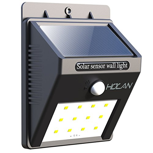 Solar Motion Sensor Lights,Holan 12 LED Waterproof Solar Powered