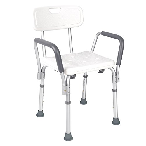 JCMASTER Shower Chair with Back and Arms for Disabled