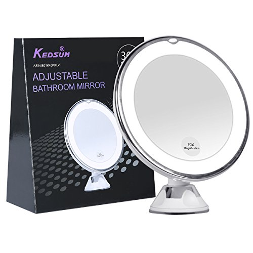 KEDSUM 6.8″ 10x Magnifying LED Lighted Makeup Mirror,Bathroom Vanity