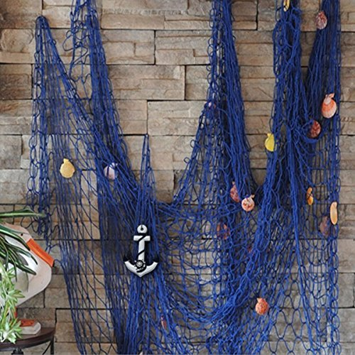 KINGSO Mediterranean Style Decorative Fish Net With Anchor and