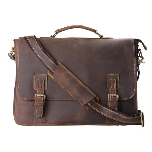 $129.99 Kattee Leather Satchel Briefcase, 16″ Laptop Messenger Shoulder Bag