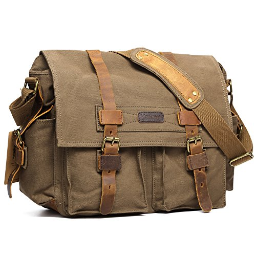 $56.99 Kattee Canvas Cow Leather DSLR SLR Vintage Camera Shoulder