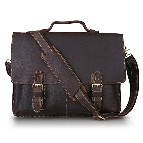 $109.99 Kattee Twin Buckle Genuine Leather Messenger Bag Medium