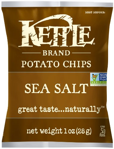 Kettle Brand Potato Chips, Sea Salt, 1-Ounce Bags (Pack