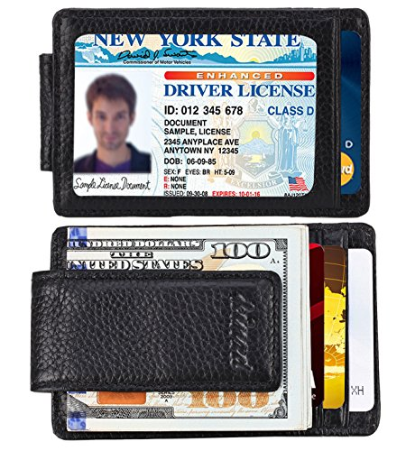 Money Clip, Front Pocket Wallet, Leather RFID Blocking Strong