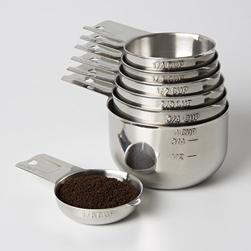 Measuring Cups 7 Piece with New 1/8 cup (Coffee