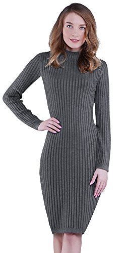 KnitLove Women' Fitted Turtleneck Long Sleeve Knit Bodycon Pencil