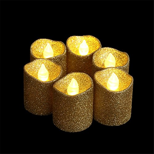 LOGUIDE 12pcs Gold Glitter Votive Candle Battery Powered Flameless