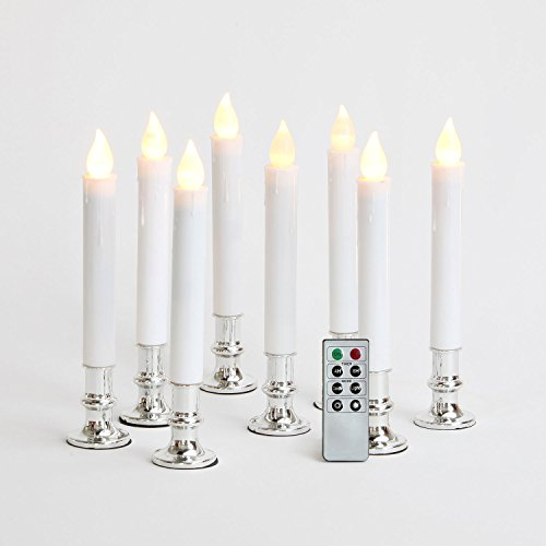Set of 8 Flameless Plastic White Taper Candles with