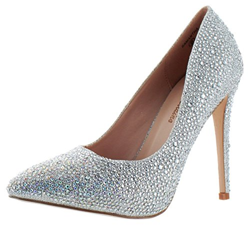 Lauren Lorraine Samantha Women's Rhinestone Pumps Shoes Silv Size