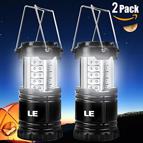 LE® 2 Pack Portable Outdoor LED Camping Lantern Flashlights
