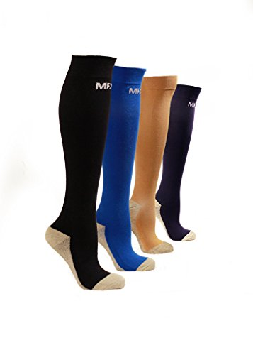 MDSOX 20-30 mmHG Graduated Compression Socks (Black, XX-Large)