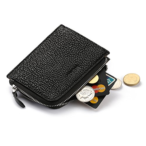 MEKU Soft Leather Zipper Change Purse Coin Wallet Credit