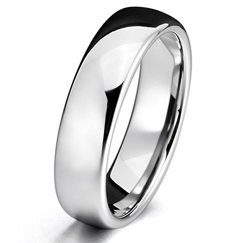 MOWOM Silver 6mm Tungsten ring Band Comfort Fit Wedding