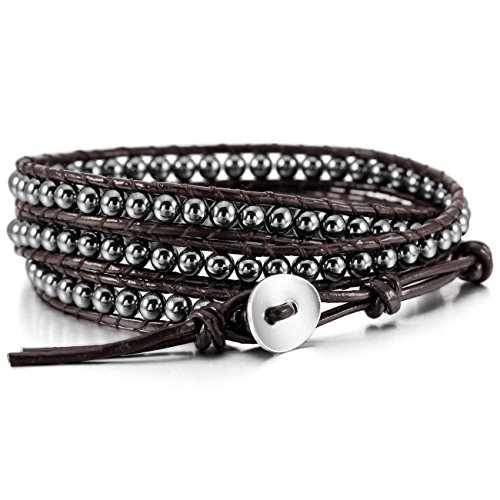 MOWOM Alloy Genuine Leather Bracelet Bangle Cuff Rope Hematite