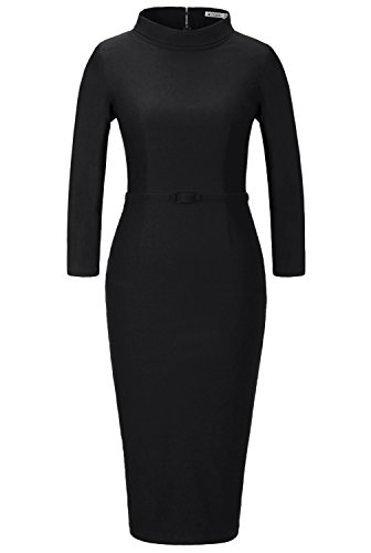 MUXXN Women\'s 1950s Vintage 3/4 Sleeve Elegant Collar Cocktail