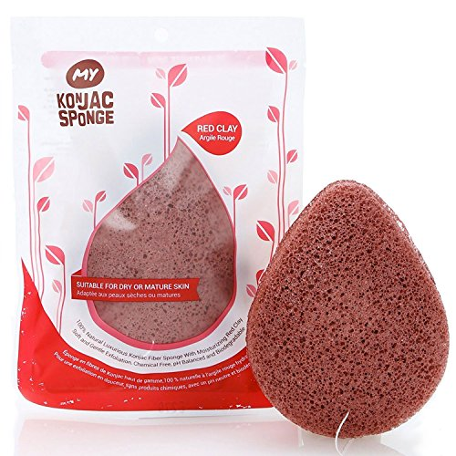 MY Konjac Sponge All Natural French Red Clay Facial