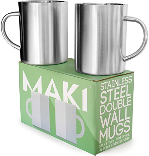 Stainless Steel Double Wall Mugs - Perfect for Coffee