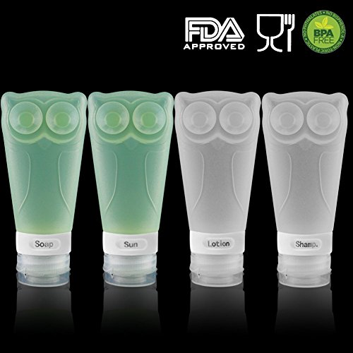 Owl Silicone Travel Bottles Set, - BPA Free, TSA