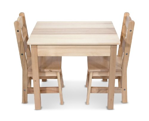 Melissa  Doug Solid Wood Table and 2 Chairs