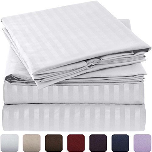 Mellanni Striped Bed Sheet Set – HIGHEST QUALITY Brushed