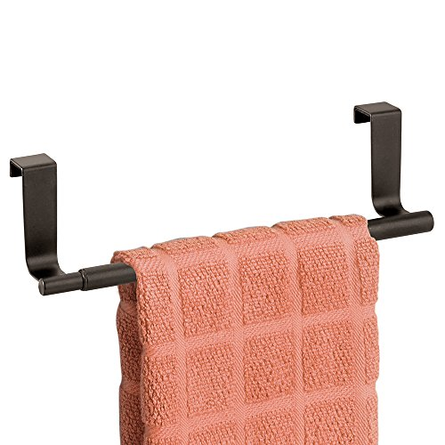 mDesign Over the Cabinet Expandable Kitchen Towel Bar –