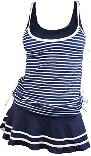 Women's Tankini Striped Trapeze Swim Dress (Deep Blue) X-SMALL